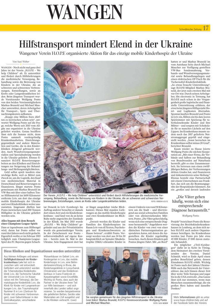 Quelle Schwäbische Zeitung vom 6. April 2018. Bericht von Susi Weber